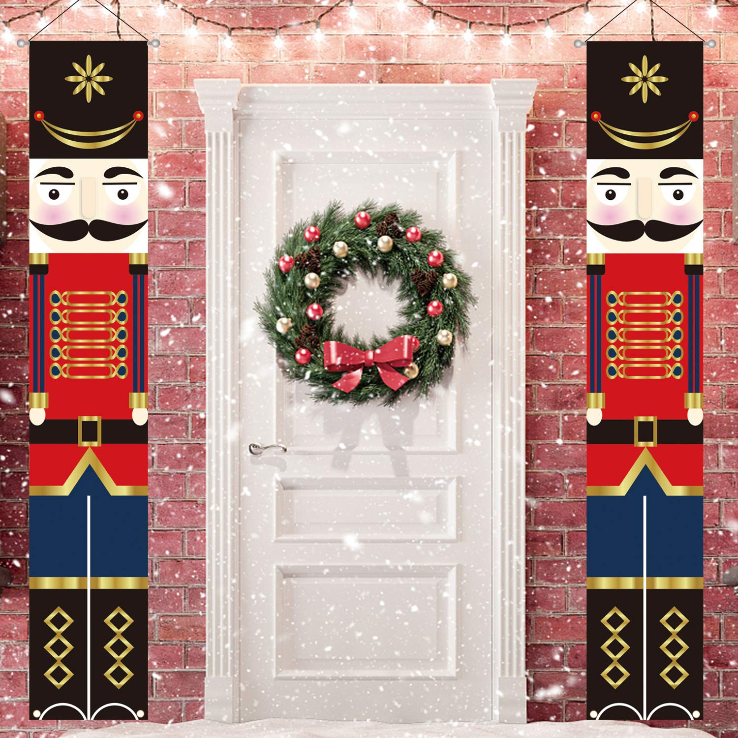 Outdoor Christmas Porch Sign Decorations Life Size-Nutcracker Front Door Decor