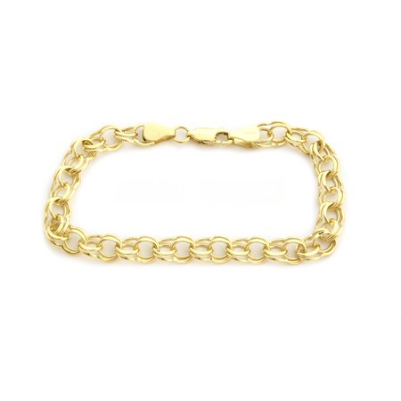 Solid 14k Yellow or White Gold 6.5mm Solid Round Double Link Chain Bracelet, 7