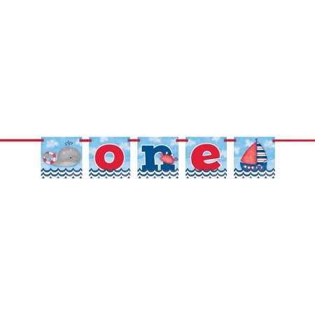 4ft Nautical Boys First Birthday Banner (Boys 1st Birthday)