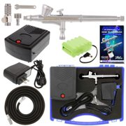 Master Dual-Action AIRBRUSH KIT Rechargeable 12V DC BATTERY AIR COMPRESSOR SET