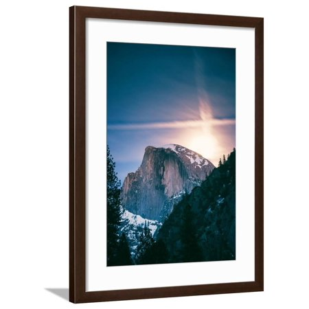 Moon Glow, Half Dome, Yosemite National Park, Hiking Outdoors Framed Print Wall Art By Vincent James ()