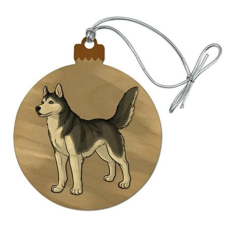 Siberian Husky Pet Dog Wood Christmas Tree Holiday Ornament