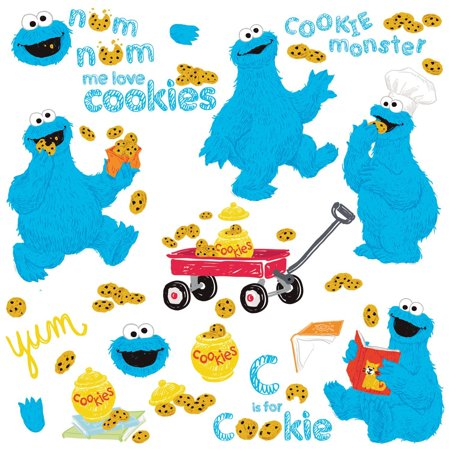 ME LOVE COOKIE MONSTER 28 Sesame Street Wall Decals Fun Room Decor Stickers (Monster High Room Stickers)