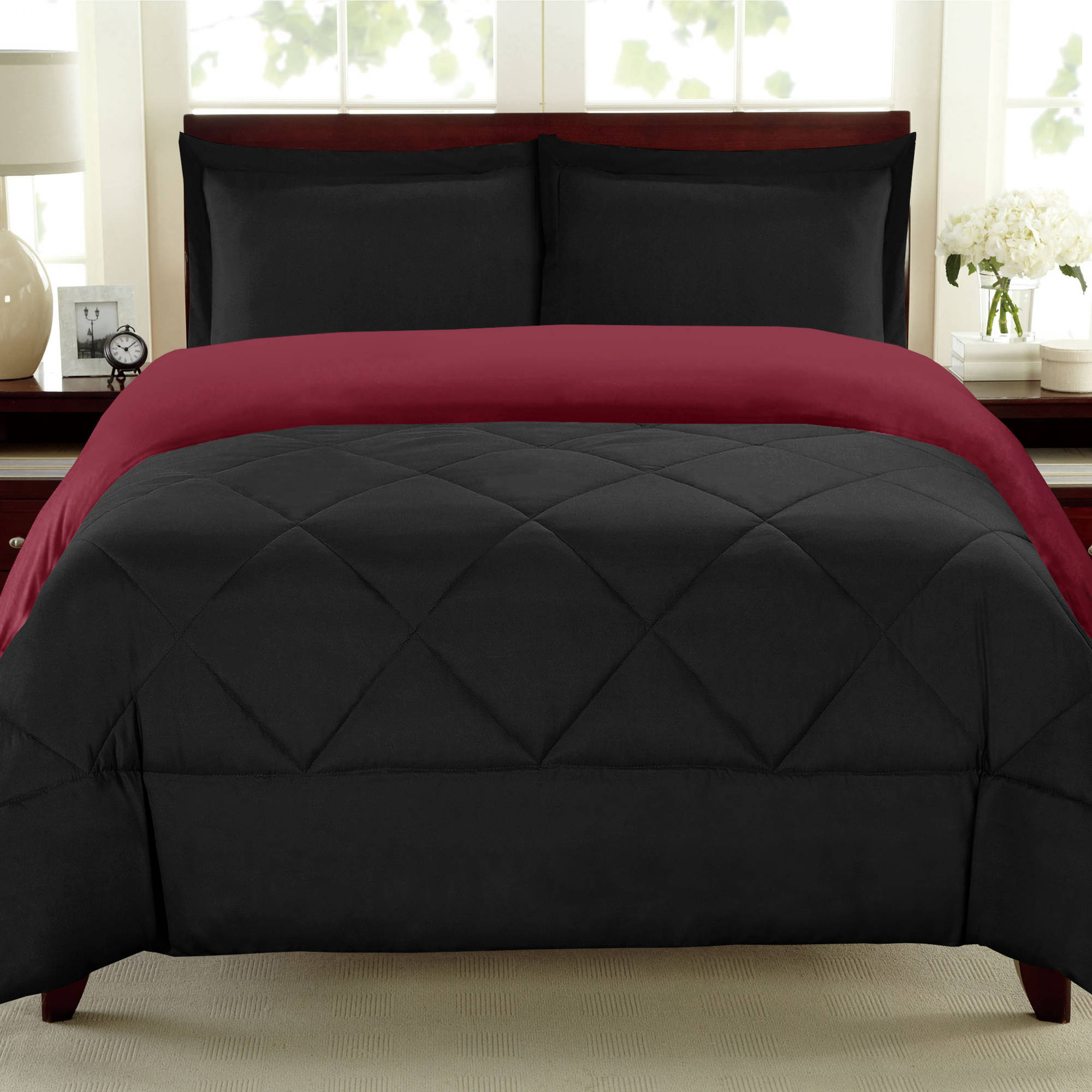 Down Alternative Comforter Reversible 3-Piece Bedding Set, 90 GSM