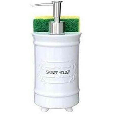 Comfify French Design Kitchen Soap Dispenser & Sponge Holder - Vanity Sink  Organizer - 12.6oz Shabby Chic Liquid Soap Dispenser with Premium Pump ...