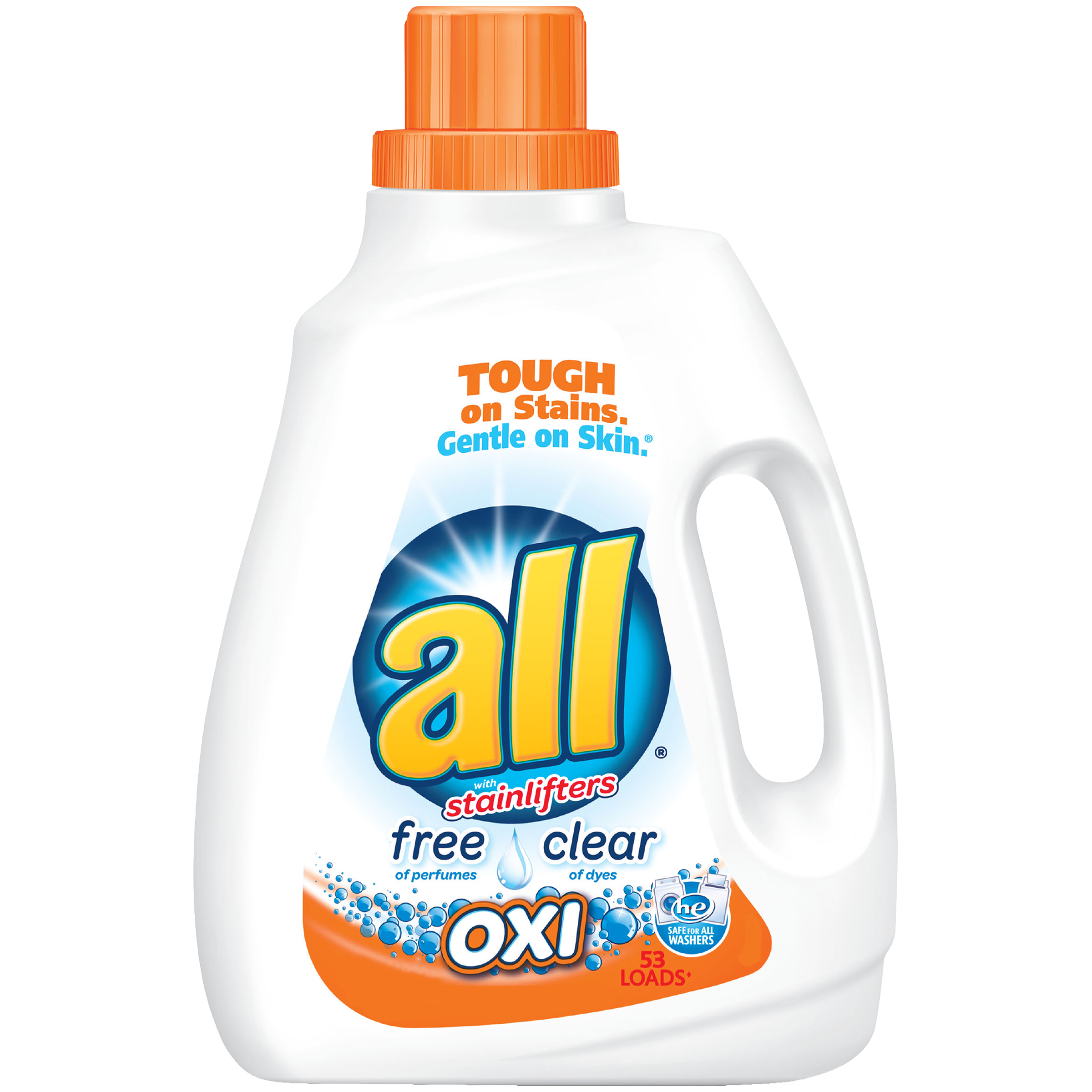 all Liquid Laundry Detergent with OXI Stain Removers and Whiteners, Free Clear, 94.5 Fluid Ounces, 53 Loads