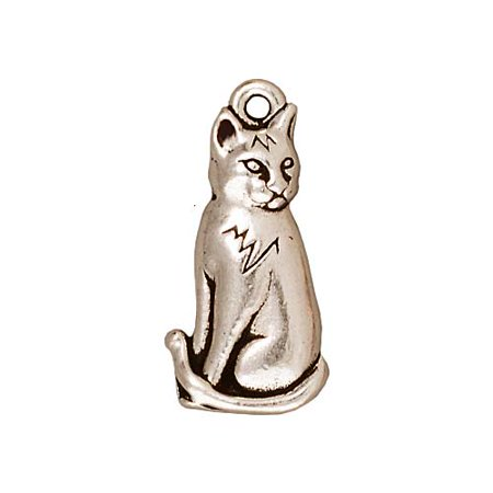 - Fine Silver Plated Pewter Sitting Cat Charm 22mm (1)