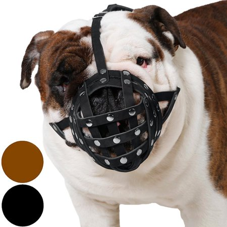 Basket Dog Muzzle for Boxer English Bulldog American Bulldog Secure Leather Muzzle, Black