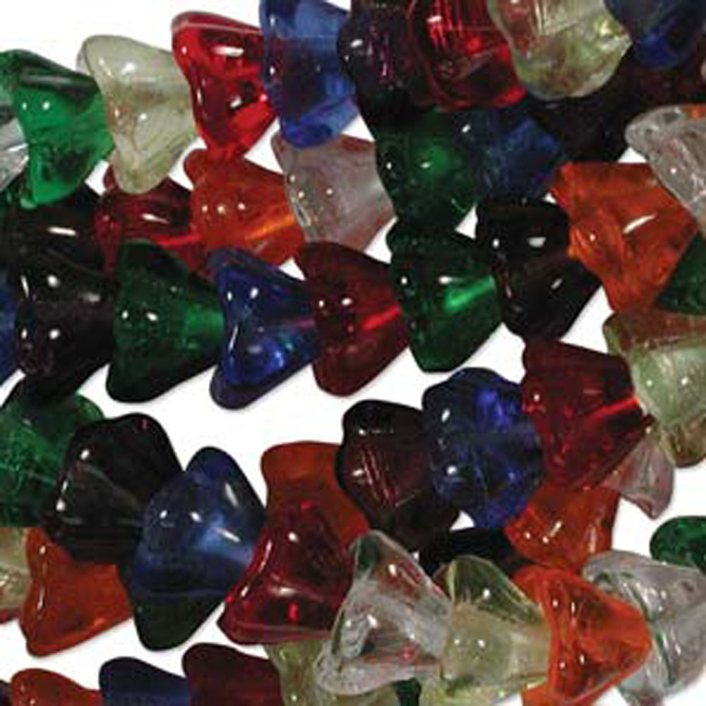 Rainbow Mix 10x13mm Flower Cone 45 Bead Cap Czech Glass, Loose Beads,