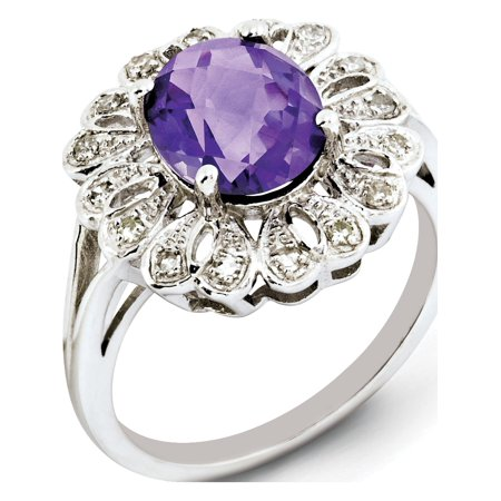 Sterling Silver Rhodium-plated Diamond & Checker-Cut Amethyst Ring - image 2 of 2