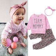 Toddler Kids Baby Girl Infant Clothes T-shirt Top Leopard Print Pants Outfits 3PCS Set Pink 6-12 Months