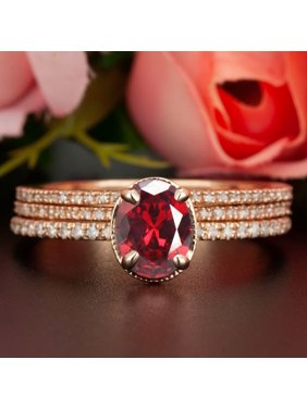 bbd6361ec9b6f6 Product Image 2 Carat Oval Cut Real Ruby and Diamond Wedding Trio Ring Set  with Engagement Ring and
