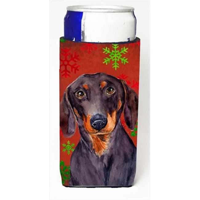 Carolines Treasures LH9313MUK Dachshund Red And Green Snowflakes Holiday Christmas Michelob Ultra bottle sleeves For Slim Cans - image 1 of 1