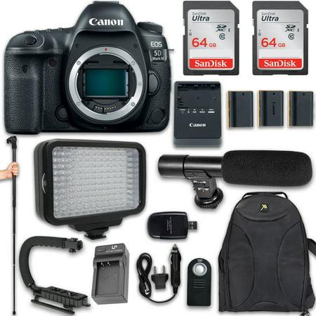 Canon EOS 5D Mark IV DSLR Camera + 120 LED VIDEO LIGHT + 3X Battery + Monopod + 128GB Memory + VideoMic + U Shape Flash Bracket Stand Grip