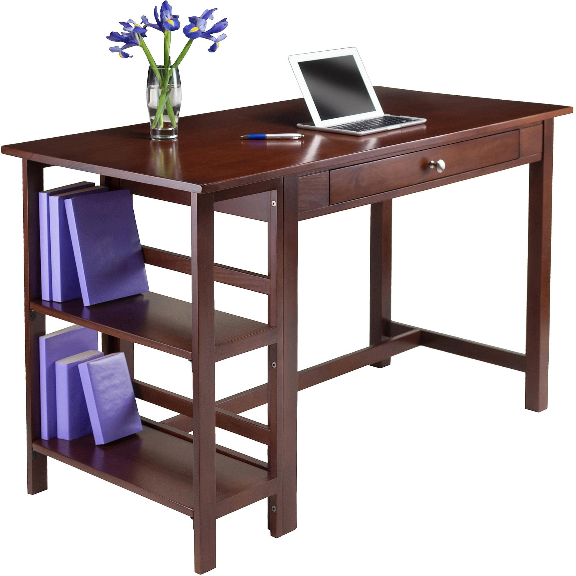 Velda Writing Desk With 2 Shelves, Walnut   Walmart.com
