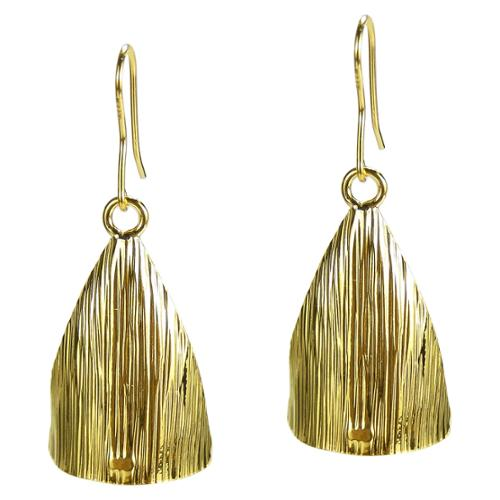 Aeravida Handmade Curved Triangle Gold Vermeil Solid 925 Silver Earrings (Thailand)