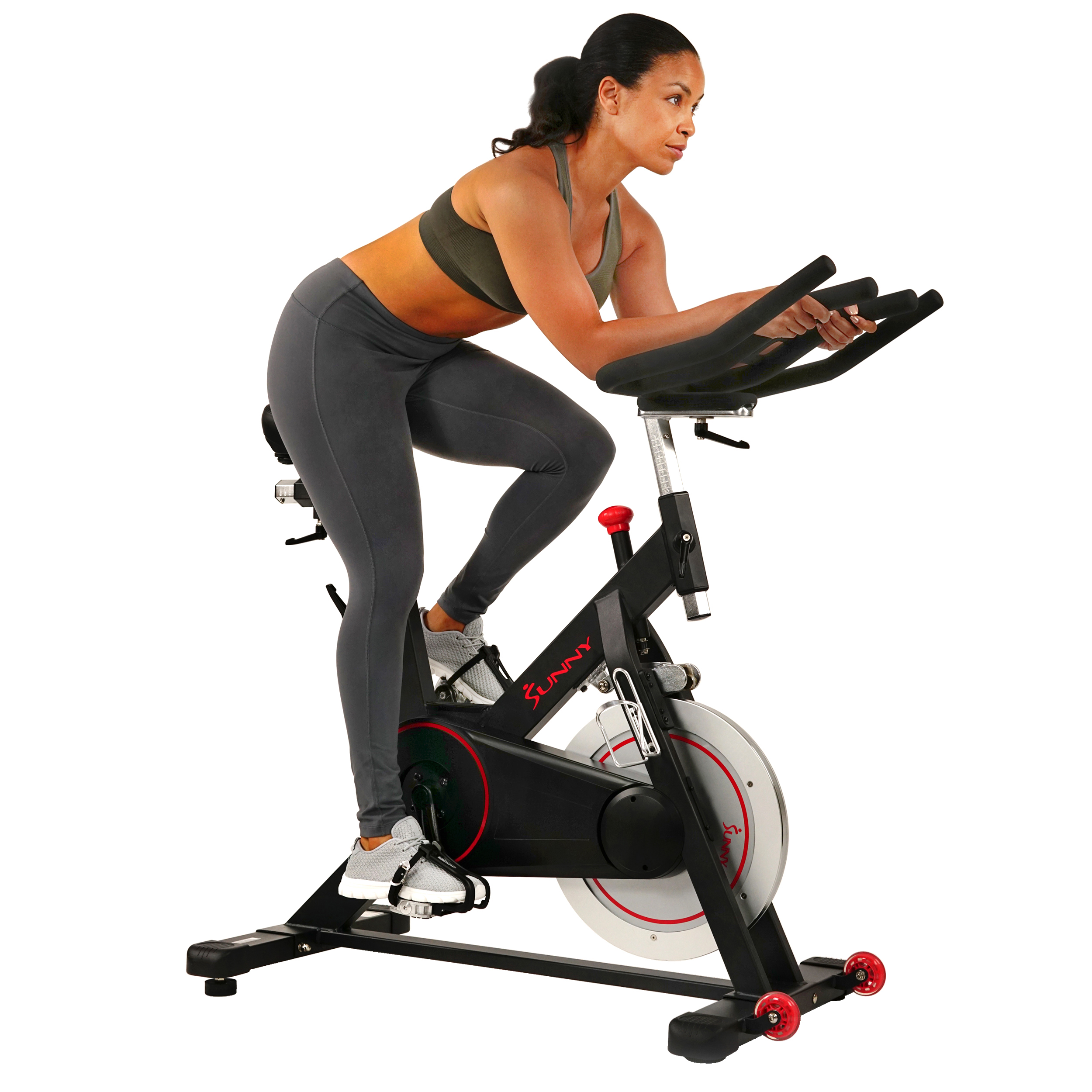 Sunny Health & Fitness Magnetic Belt Drive Indoor Cycling Bike with High Weight Capacity and Tablet Holder - SF-B1805