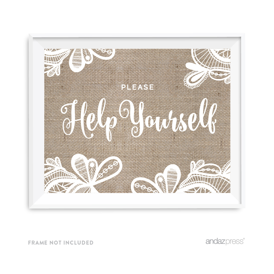 Please Help Yourself Burlap Lace Wedding Party Signs