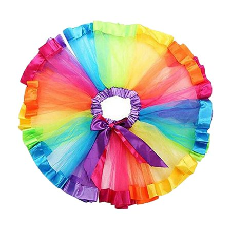 Baby Girl Layered Rainbow Tutu Skirt Birthday Party Costume Dress (Baby Spongebob Costume)