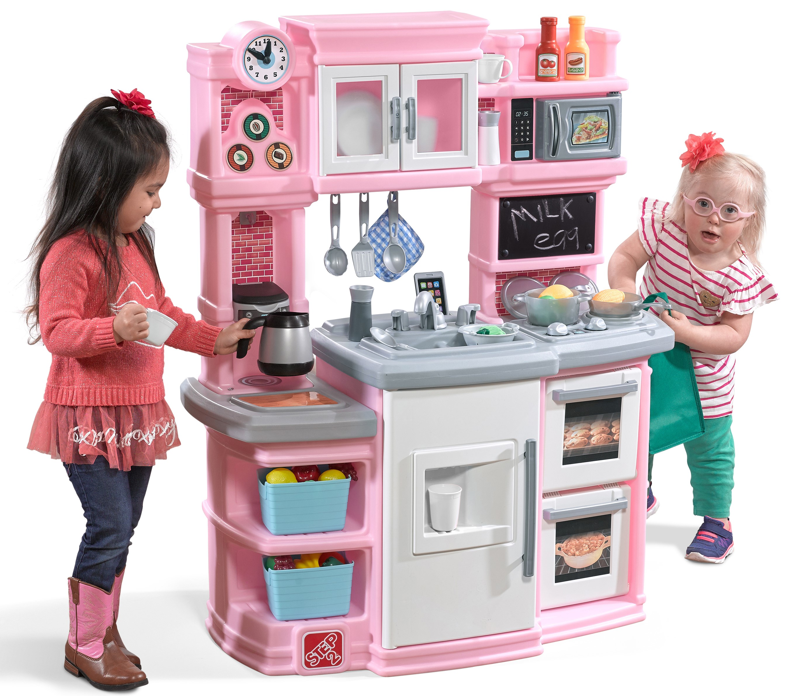Step2 Great Gourmet Play Kitchen With Storage Bins And Accessory Play Set Pink Walmart Com Walmart Com