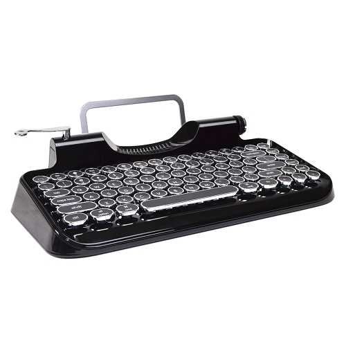 Typewriter Bluetooth Wireless Mechanical Keyboard With Integrated Tablet Stand