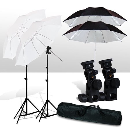 Photo Studio Umbrella Flash Mount Set Light Stand Kit For Nikon Canon