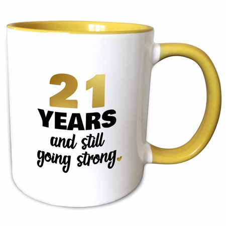 3dRose 21 Years Still Going Strong Twenty First 21st Wedding Anniversary Gift - Two Tone Yellow Mug,