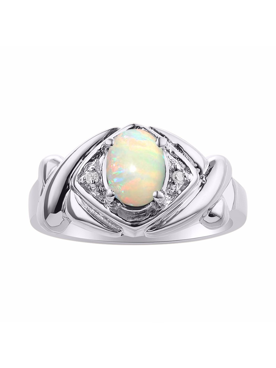 Diamond & Opal Ring Set In Sterling Silver XO Hugs & Kisses Color Stone Birthstone Ring DSL-LR7002OPW by Rylos