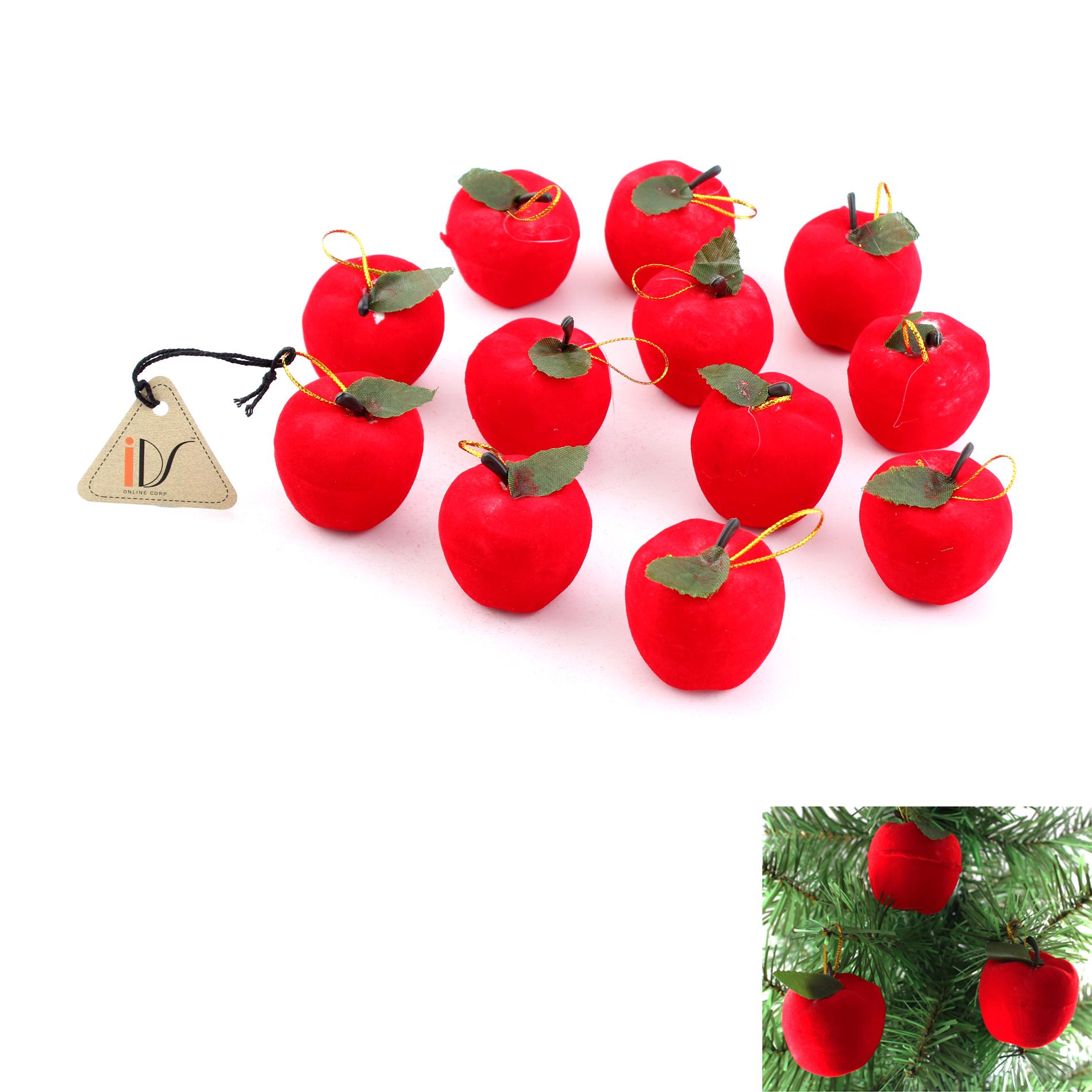 12 pcs Christmas red apples christmas tree ornament hanging XMAS party decor