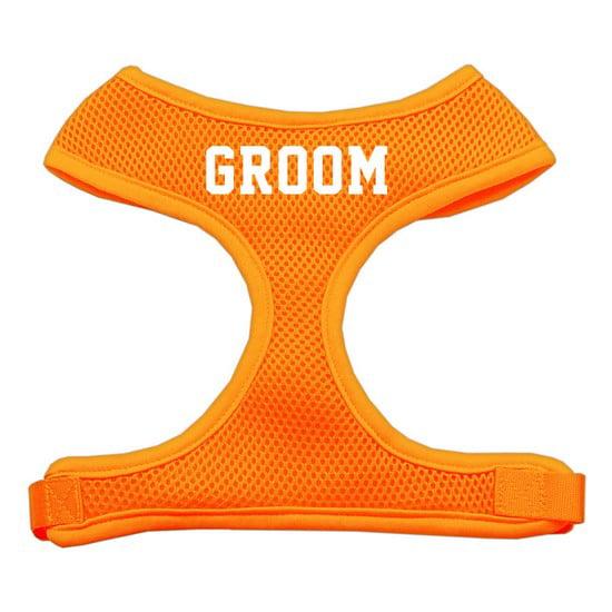 Groom Screen Print Soft Mesh Harness Orange Small