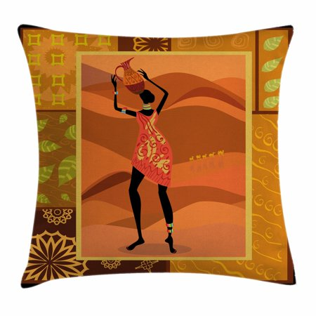 African Woman Throw Pillow Cushion Cover, Frame with Natural Autumn Elements Native Girl with Vase Exotic Zulu Print, Decorative Square Accent Pillow Case, 18 X 18 Inches, Multicolor, by Ambesonne