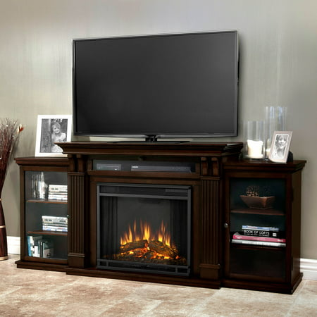 Calie Entertainment Center Electric Fireplace in Dark Walnut by Real Flame ()