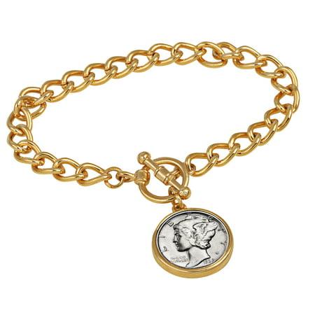Silver Mercury Dime Goldtone Coin Toggle Bracelet