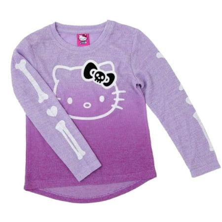 Sanrio Girls Purple Hello Kitty Halloween Skeleton Sweater Shirt Top (Hello Kitty Halloween Backgrounds)