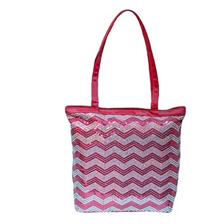 Girls Tote Bag Chevron Sequin Bag Fuchsia