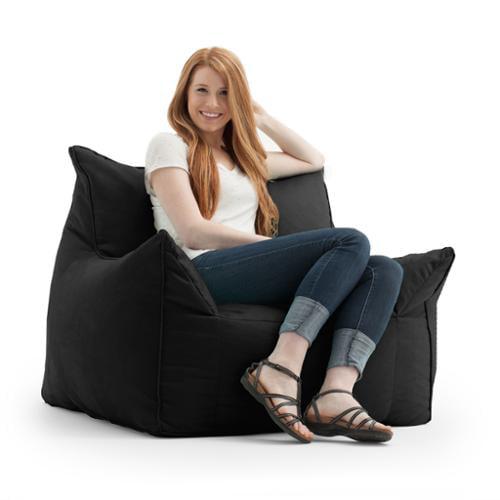 FufSack Memory Foam Imperial Black Microfiber Bean Bag Lounge Chair