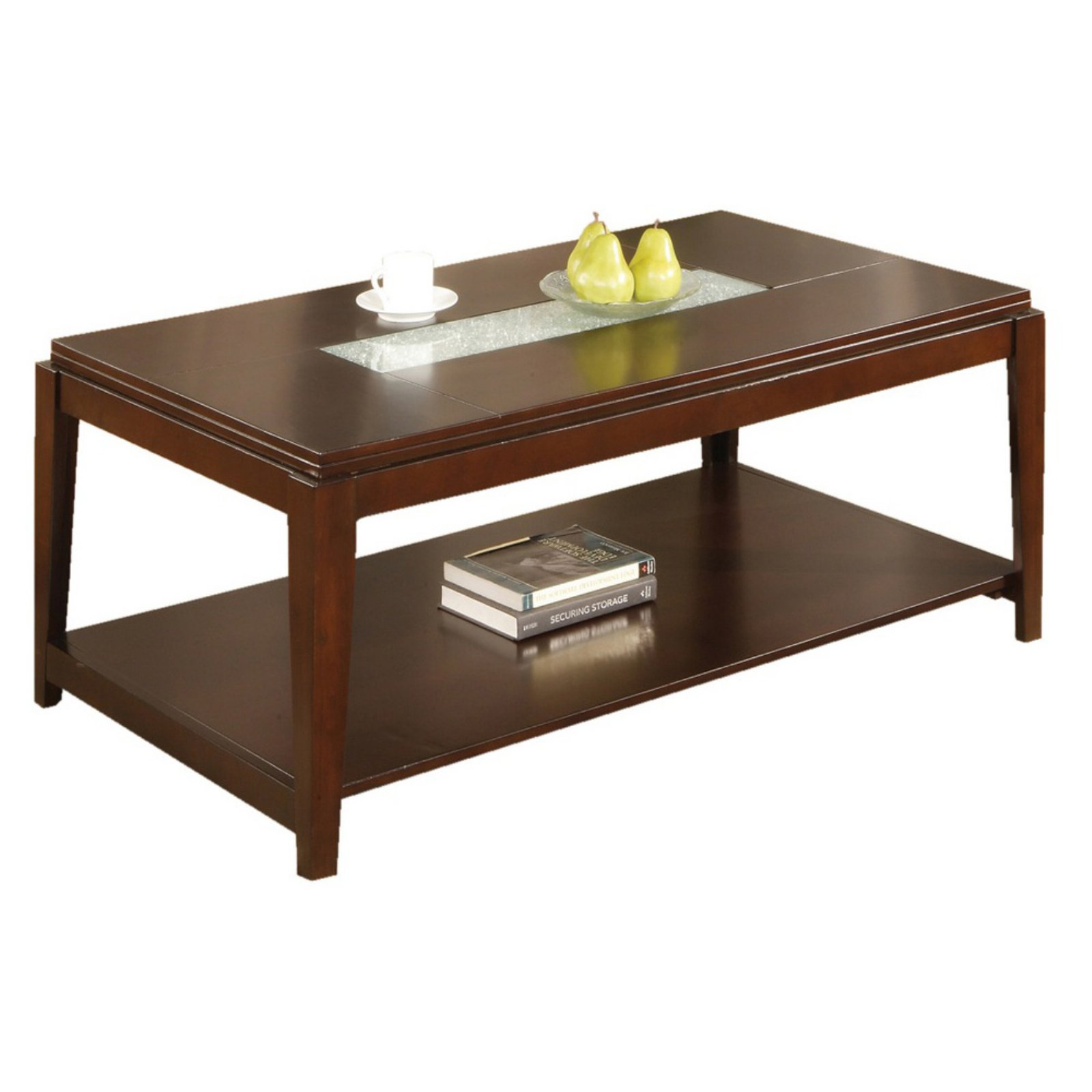 Steve Silver Ice Rectangle Cherry Wood Coffee Table With Cracked Glass  Insert