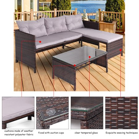 Costway 3 pcs outdoor rattan furniture sofa set lounge for Chaise lounge couch set