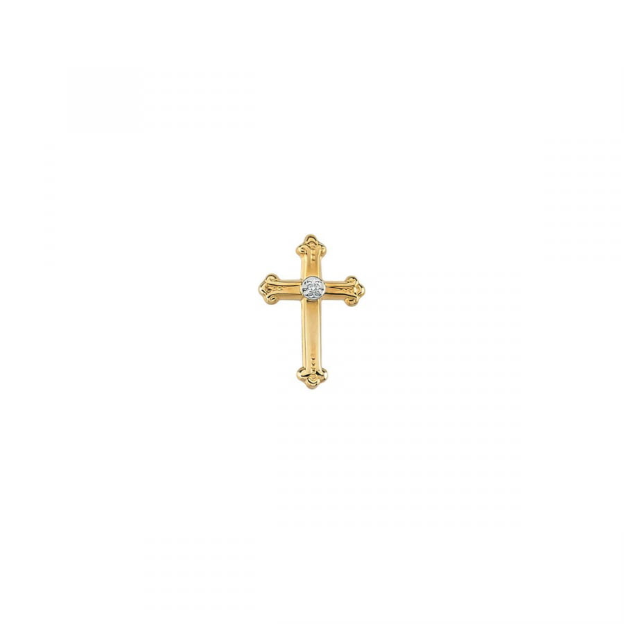 Diamond Cross Lapel Pin R16742   14Kt Yellow White   15.00X10.50 Mm   Polished   Cross Lapel Pin W Diamond by Midwest Jewellery