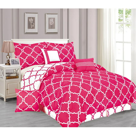 Galaxy 7 Piece Comforter Set Reversible Soft Oversized Bedding Hot Pink King Size