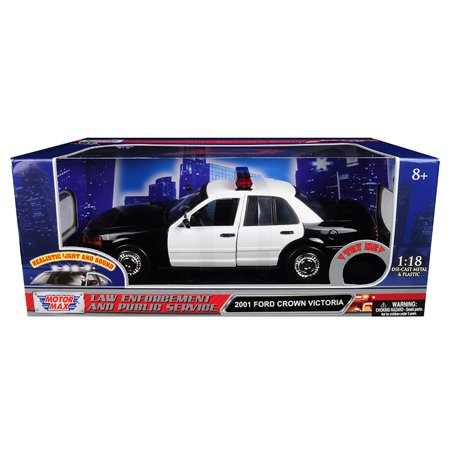 2001 Ford Crown Victoria Police Car Black & White w/ Flashing Light Bar, Front & Rear Lights & Sound 1/18 by Motormax