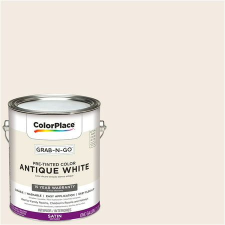 ColorPlace Pre Mixed Ready To Use, Interior Paint, Antique White, Satin Finish, 1 - Antique Look Finish