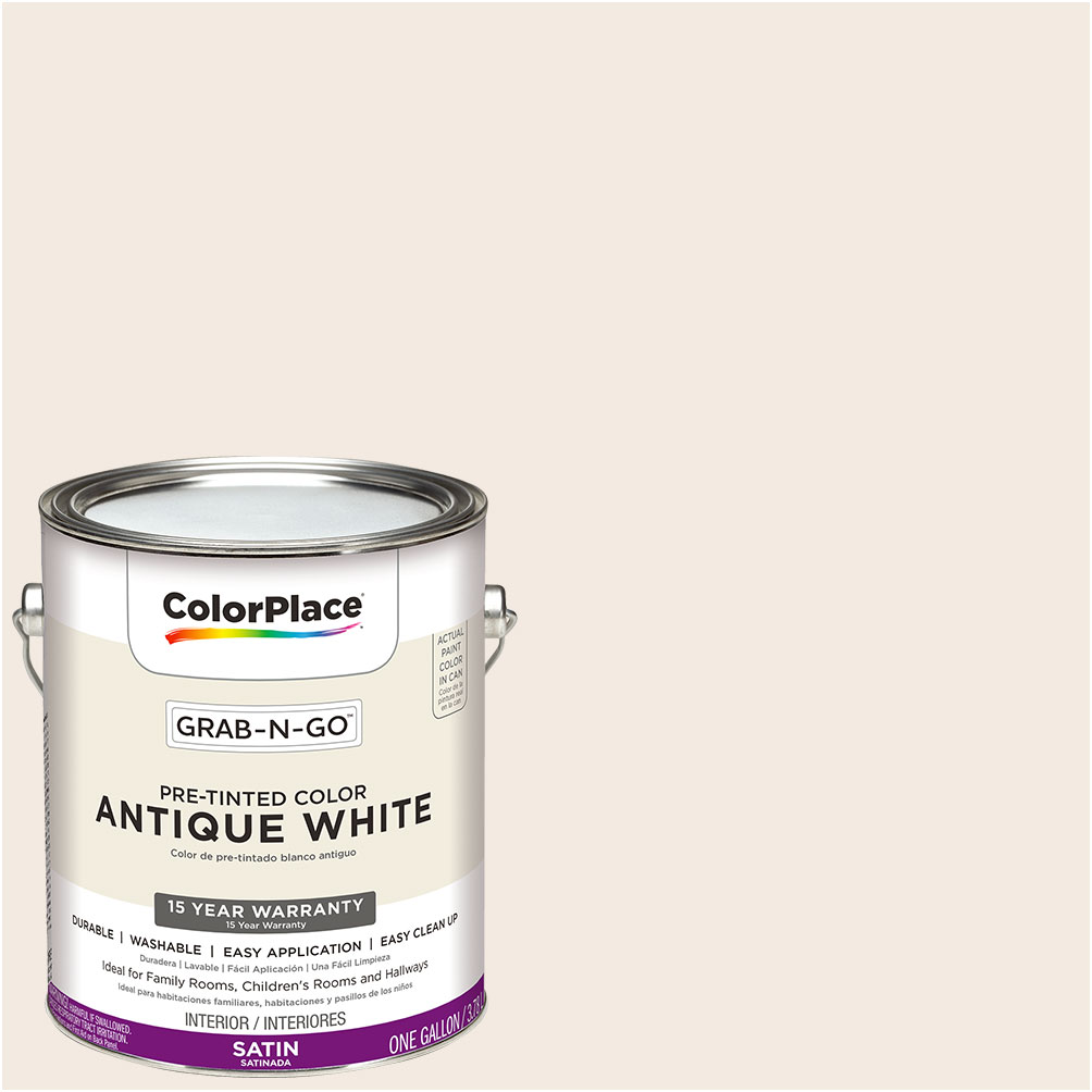 ColorPlace Pre Mixed Ready To Use, Interior Paint, Antique White, Satin Finish, 1 Gallon