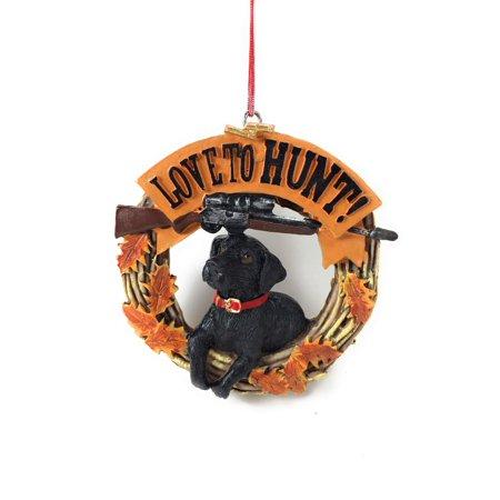 Love to Hunt! Black Lab Rifle Scope Ornament