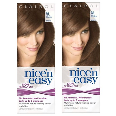 Clairol Nice N' Easy Hair Color #76, Light Golden Brown (Pack of 2) Uk Loving Care + 3 Count Eyebrow Trimmer ()