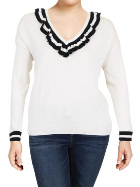 7c3cd9bc2b Product Image Lauren Ralph Lauren Womens Macey Ruffled Long Sleeves V-Neck  Sweater