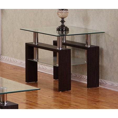 Best Quality Furniture Espresso End Table With a Clear Glass top (Best Anker Cheap Tables)