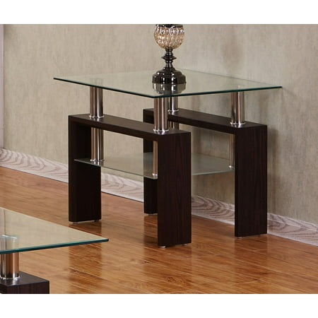 Best Quality Furniture Espresso End Table With a Clear Glass top