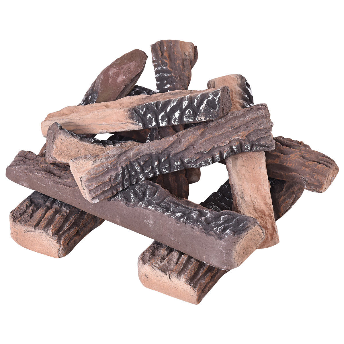 Costway 10pcs Ceramic Wood Logs Gas Fireplace Imitation