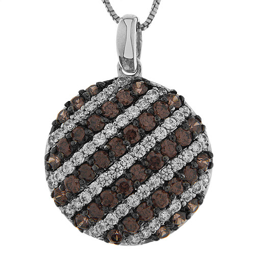 2.05 Carat T.G.W. Brown and White CZ Sterling Silver Round Pendant, 18""